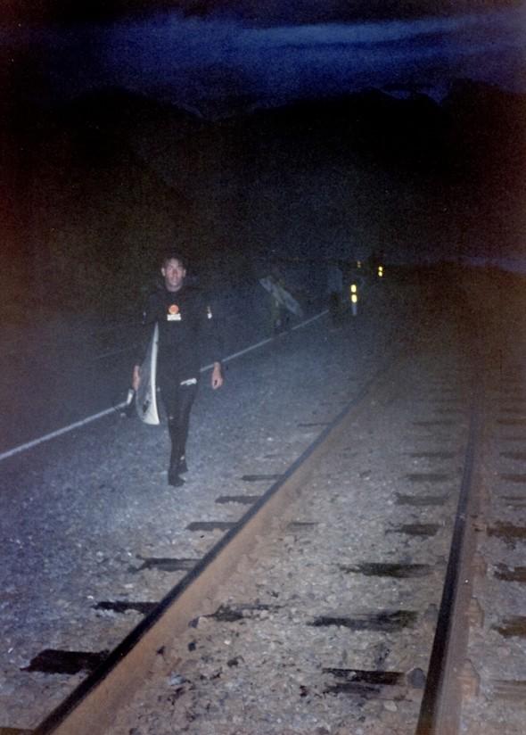 Richard Harvey walking back along the railway line at Mangamanu